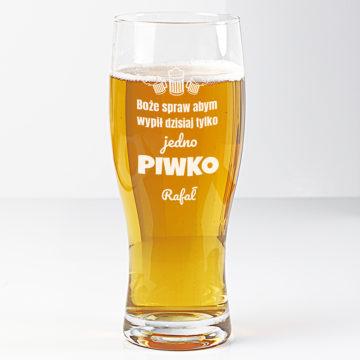 na zdjęciu widoczna szklanka do piwa z nadrukiem