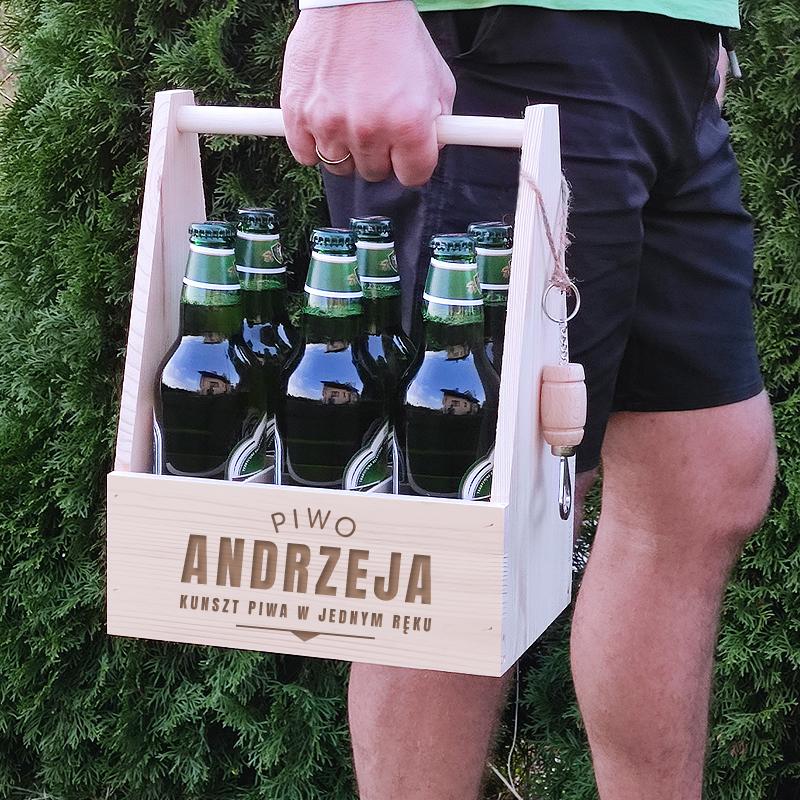 na zdjęciu nosidło na piwo z otwieraczem